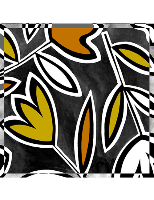 Scarf- Abstract Tulips- BW/BR on Blue Background