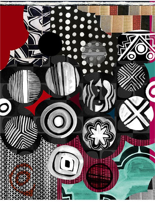 Sarong-Lines and Circles - BW/Multi/Red