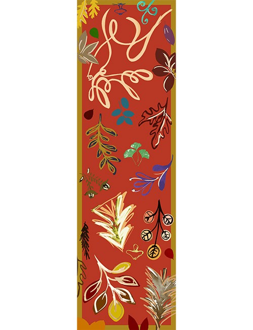 Stole - Leaves and Swirls - Multicolor on Red