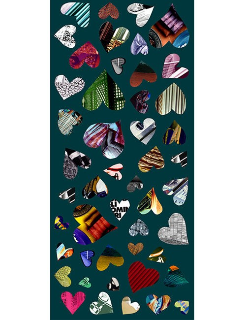 Shawl - Patchwork Hearts - Multi-color on Teal