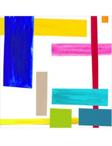 Scarf-Abstract Rectangles - Multi-color/White