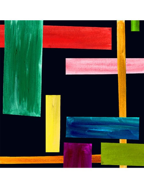 Scarf-Abstract Rectangles - Multi-color/Black