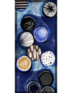 Shawl – Circles and Patterns in Blue/Black/White