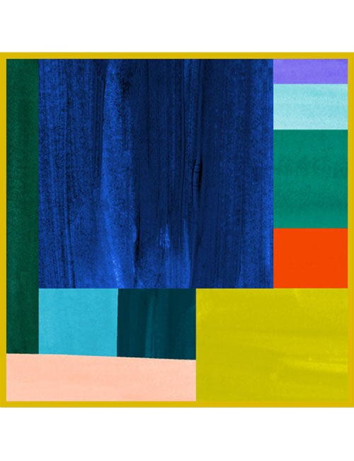 Scarf-Painted Rectangles- Multi- Blue/green