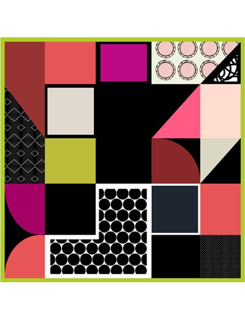 Scarf- Mod Art- Black/Lime/Pink
