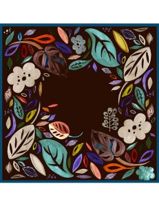 Whimsical Leaves and Flowers- Square Scarf