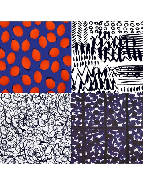 Scarf- Mixed Graphic Lines - Red/Navy/Black/White