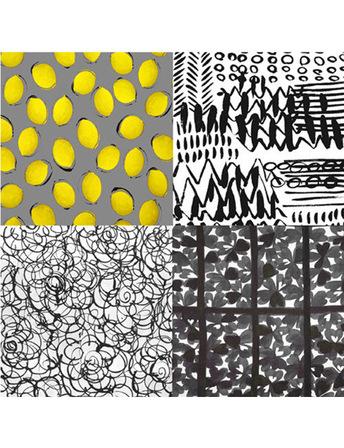 Scarf- Mixed Graphic Lines - Yellow/gray//Black/White