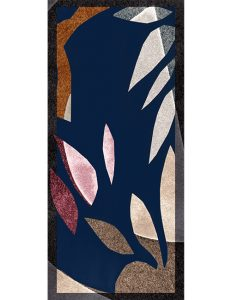 Shawl-Abstract Leaves in Charcoal, Navy, Rust, Gray
