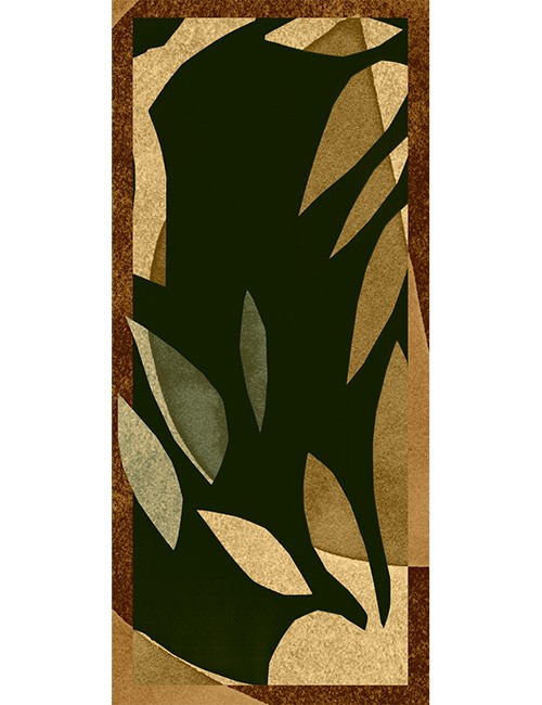 Shawl-Abstract Leaf in brown, olive, beige