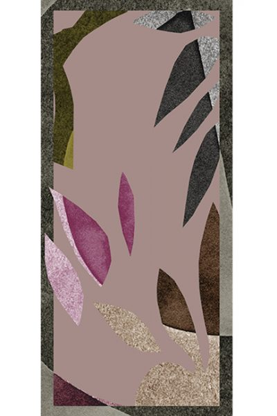 Shawl - Abstract leaves with lavender, brown on mauve background