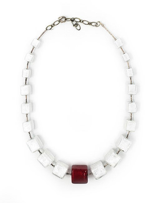 Necklace-Murano Glass Bead White/Red