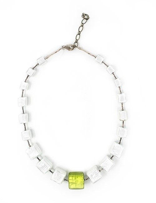 Necklace-Murano Glass Bead White/Citric
