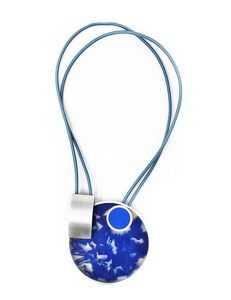 Necklace-Pictured Sculpture of images Silver/Blue