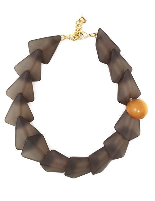 Necklace-Italian Resin Geometric Style Smoke/Gold