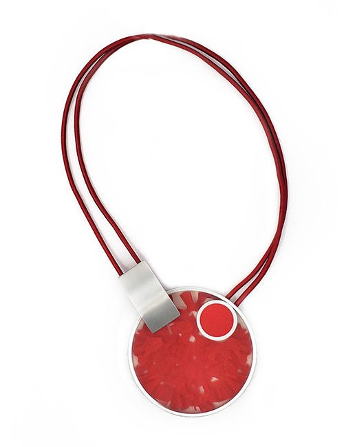 Necklace-Pictured Sculpture of images Silver/Red