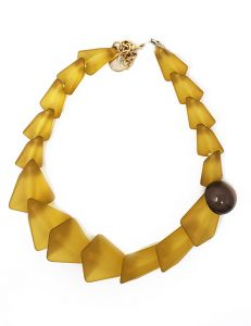 Necklace-Italian Resin Geometric Style Smoke Yellow/Gray