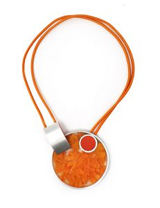 Necklace-Pictured Sculpture of images Silver/Orange