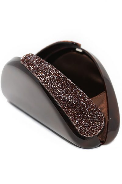 Handbag-Clutches Acrylic Glass and Crystal detail brown/Crystal