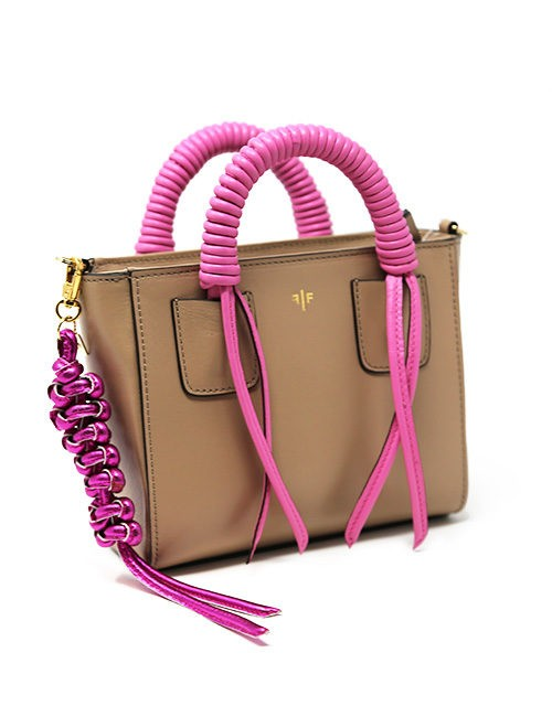 Handbag, all leather sensibility with mix influence of Art Deco and Contemporary Art tan/pink, Shoulder strap included