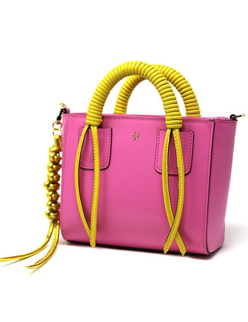 Isla Fontaine Handbag, all leather sensibility with mix influence of Art Deco and Contemporary Art pink/yellow Shoulder strap included
