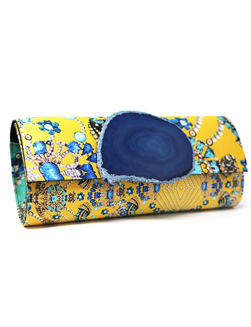 Clutch-Silk print with quartz slice fastener yellow/blue