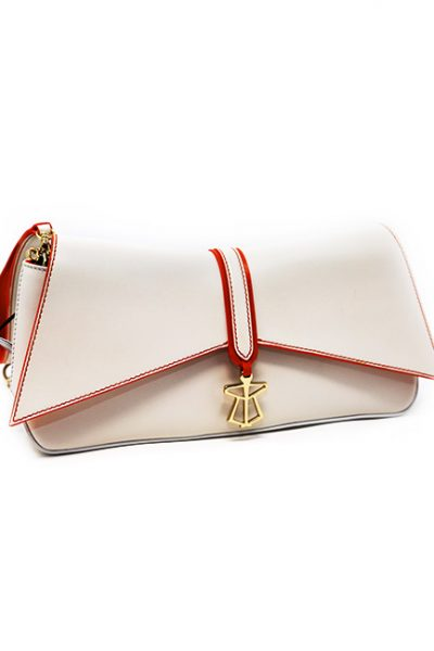 Handbag- Geometric flap front, magnetic clasp cream/orange