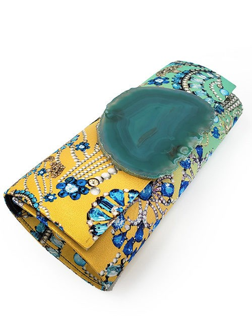 Clutch-Silk print with quartz slice fastener Yellow/green
