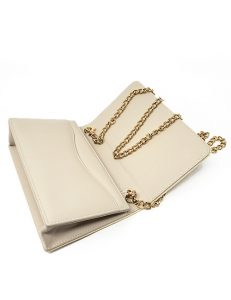 Handbag clutch- made of extravagant dyed python with a leather inside cream