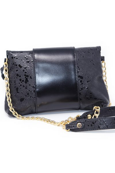 Handbag-Italian Leather print press black