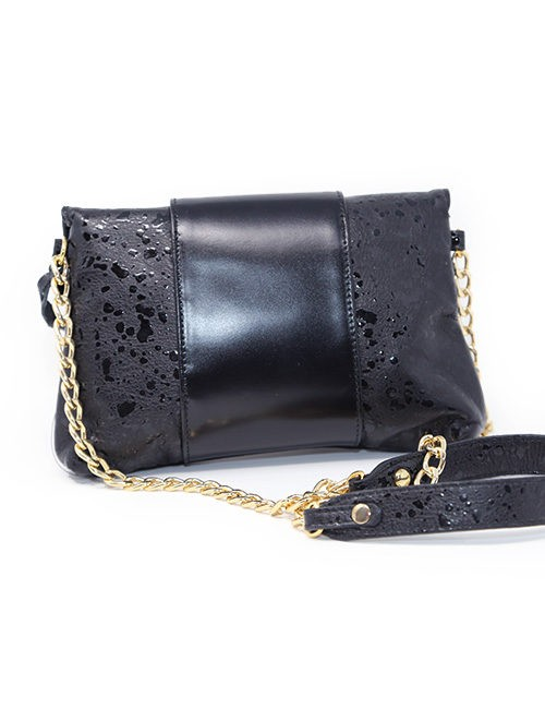 95114670924a Handbag-Italian Leather print press black ...