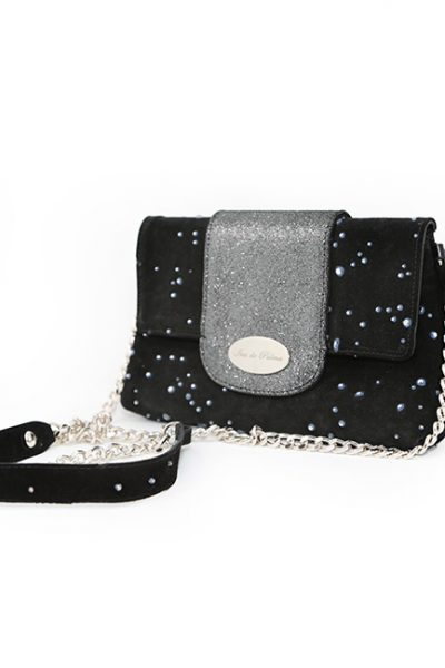 Handbag-Italian Leather suede studded and press leather black Mix