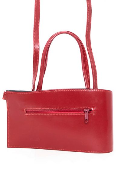 Handbag-Leather Contemporary shape small red