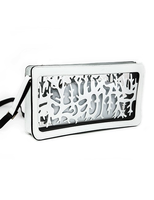 Handbag-Patent leather Clear resin mix design white/clear