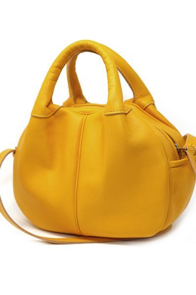 Handbag- Leather chic and contemporary sculptured handbag mustard
