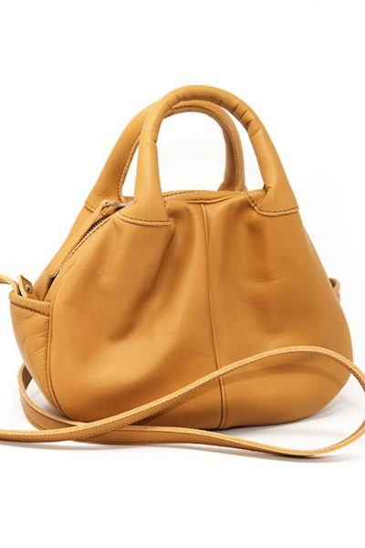 Handbag- Leather chic and contemporary sculptured handbag Tan