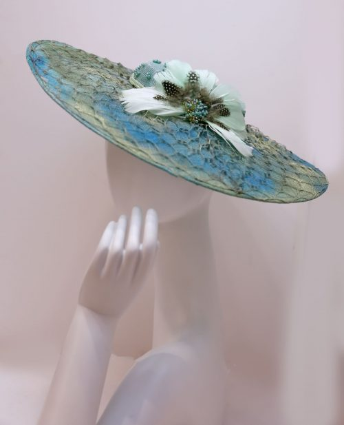 Fascinator, sinamay with texture overlay sinamay mesh and decorative feathers resin beads color Turquoise/blue