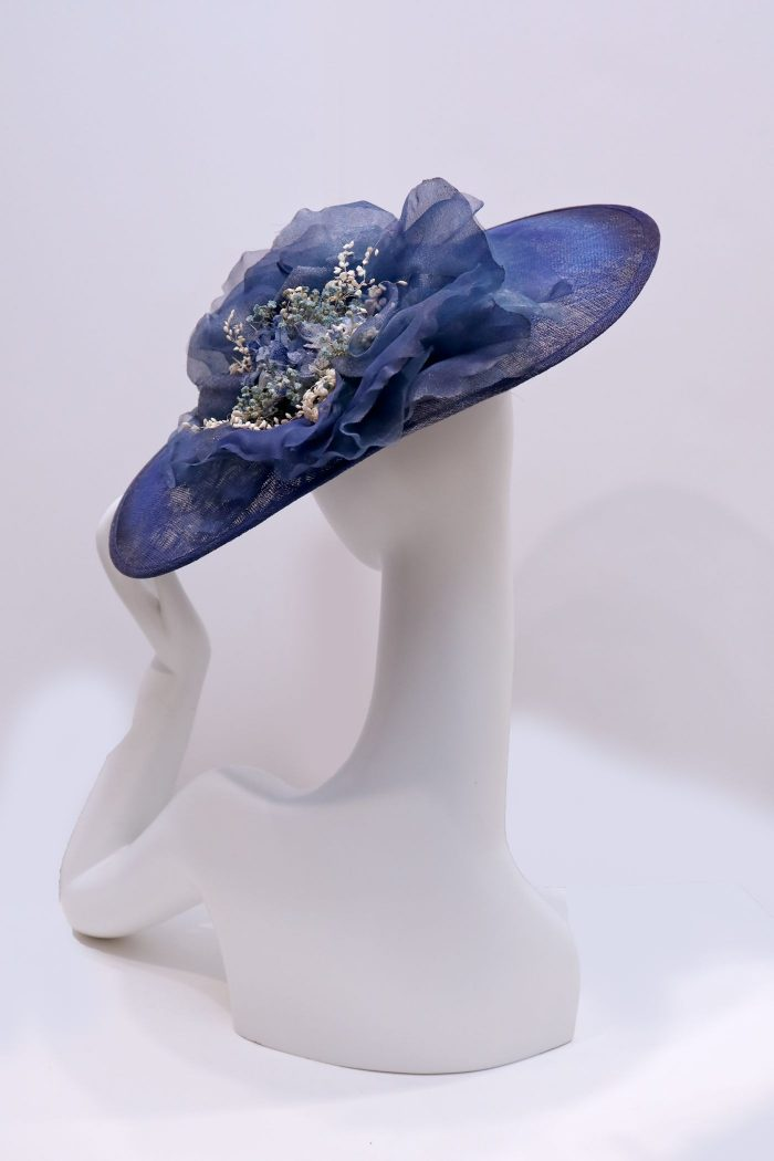 Fascinator, sinamay hat with handmade silk flower and decorative flowers Navy
