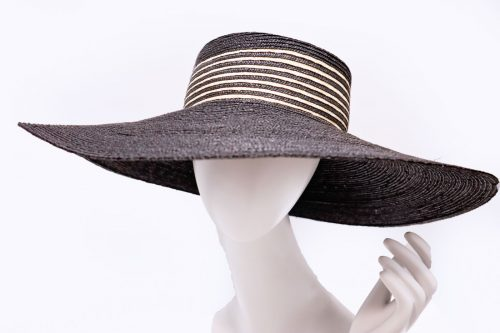 Hat Wide brimmed stitched straw hat with striped trim black/natural