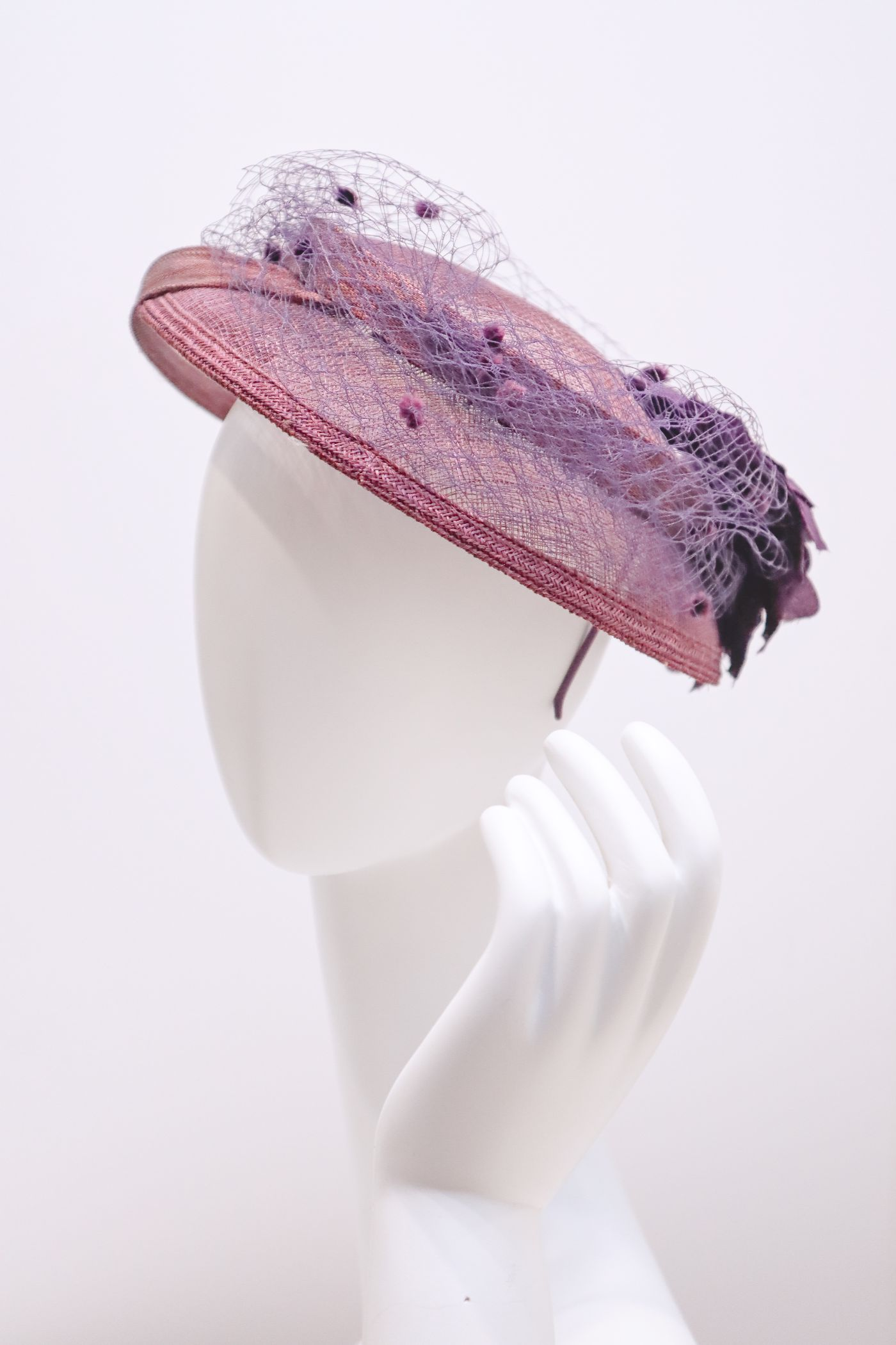 Fascinator, sinamay hat, with decorative veil on crown with handmade silk flower deep Purple