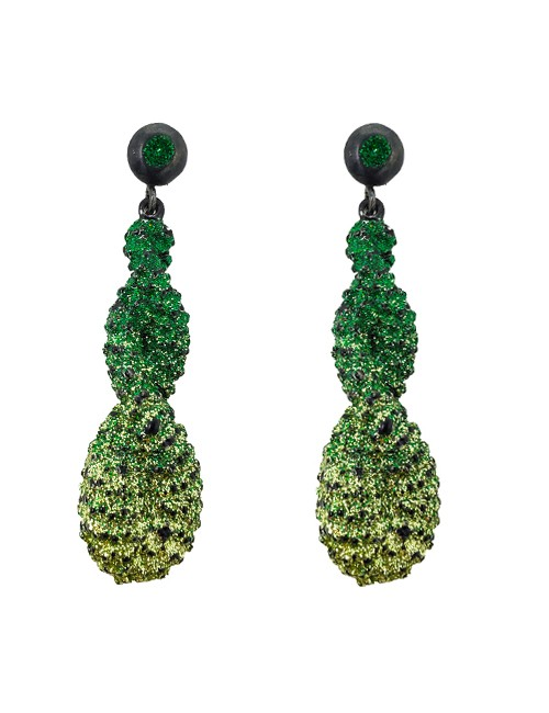 Pierced earring metal base, composed of Magnesium-AL, lightweight, oxidation-free, naturally hypoallergenic green/silver