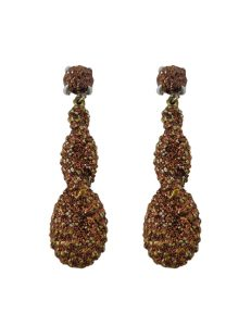 Pierced earring metal base, composed of Magnesium-AL, lightweight, oxidation-free, naturally hypoallergenic brown/gold