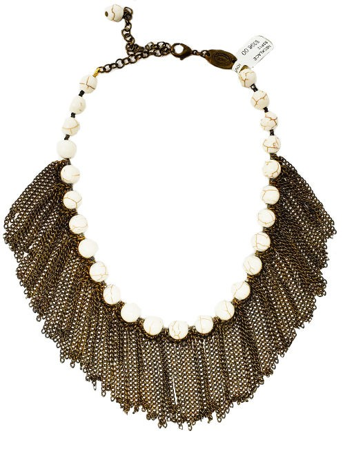 Necklace French contemporary marble beads with brass chains Ivory/Brass