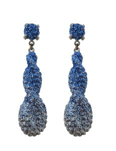 Pierced earring metal base, composed of Magnesium-AL, lightweight, oxidation-free, naturally hypoallergenic silver/light blue