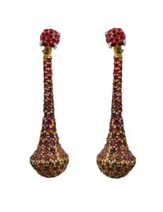 Pierced earring metal base, composed of Magnesium-AL, lightweight, oxidation-free, naturally hypoallergenic red/gold