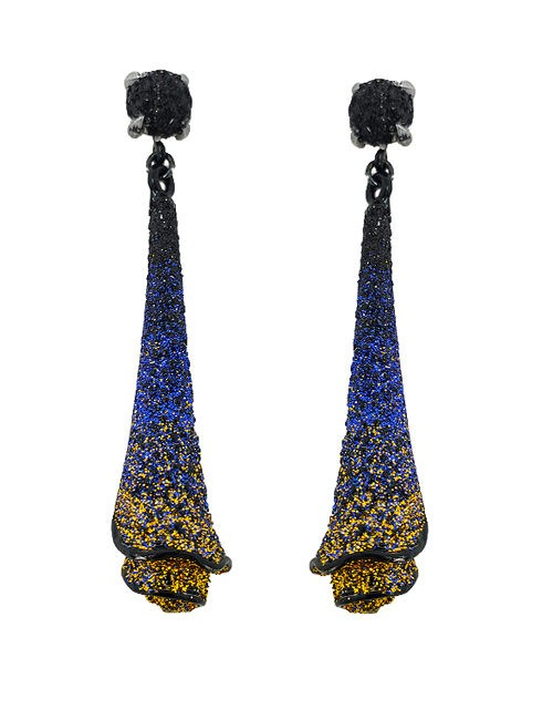 Pierced earring metal base, composed of Magnesium-AL, lightweight, oxidation-free, naturally hypoallergenic blue/gold
