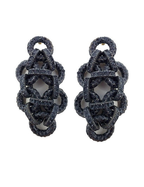 Pierced earring metal base, composed of Magnesium-AL, lightweight, oxidation-free, naturally hypoallergenic black