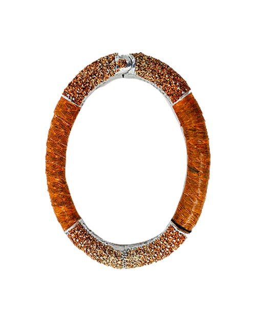 Bracelet metal base sprayed silver and orange python, composed of Magnesium-AL, lightweight, oxidation-free, naturally hypoallergenic silver/orange