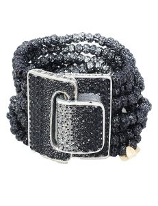 Bracelet metal base sprayed silver and black resin, composed of Magnesium-AL, lightweight, oxidation-free, naturally hypoallergenic silver and black resin