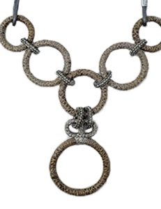 Necklace metal base sprayed silver and python, composed of Magnesium-AL, lightweight, oxidation-free, naturally hypoallergenic silver/gray python